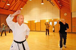 Dojo Leiter der Abteilung Karate beim SC Obermichelbach Walter Dienstbier beim Karate Training. Foto: Mile Cindric